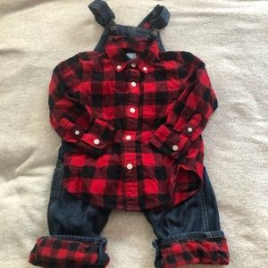 Oshkosh Overalls lined and matching baby Gap shirt